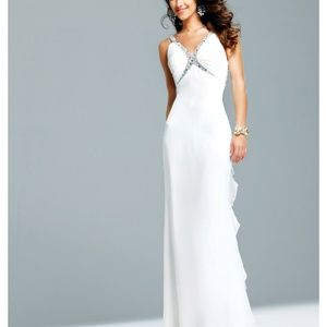 Faviana White Formal Prom Gown